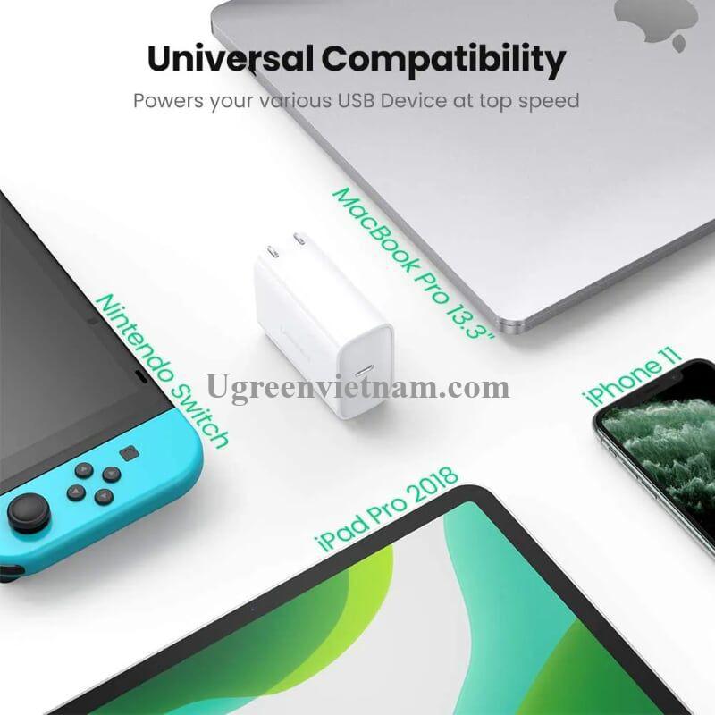 Ugreen 60463 type c 45W PD 3.0 sạc nhanh chuẩn usb Power Delivery màu trắng CD207 20060463