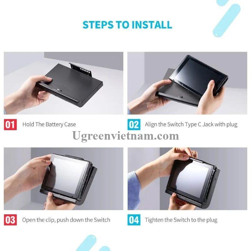 Ugreen 50756 10000mAh pin sạc dự phòng và vỏ bảo vệ màu đen cho Nintendo Switch CP611 20050756