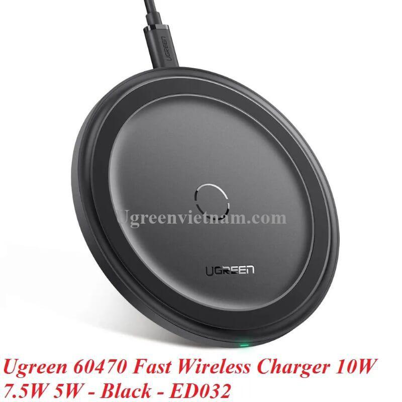 Ugreen 60470 10W sạc nhanh không dây chuẩn QI bề mặt bằng da màu đen ED032 20060470