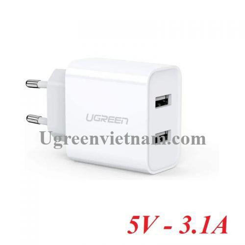 Ugreen 50877 sạc đôi 2 cổng usb 5V 3.1A màu trắng CD104 20050877