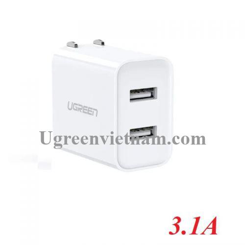 Ugreen 60494 5v 3.1A sạc đôi 2 cổng usb màu trắng chuẩn US xếp được CD146 20060494