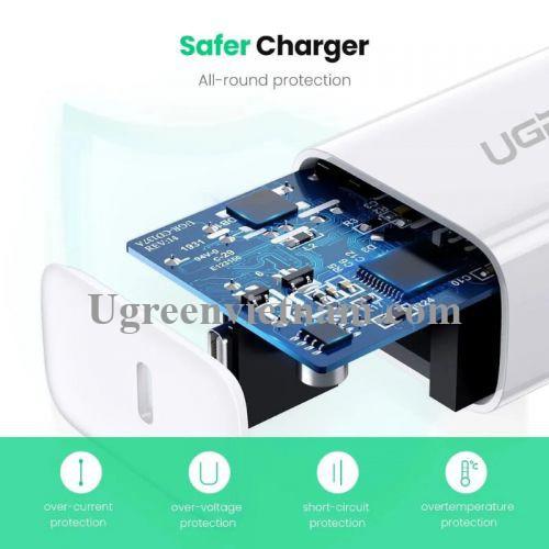 Ugreen 70226 18W PD sạc nhanh cổng usb type c power delivery chân sạc chuẩn US xếp được màu trắng CD137 20070226