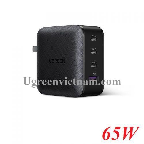 Ugreen 70773 65W 3C + 1A PD3.0 GaN sạc siêu nhanh 4 cổng 3x type C và 1x A màu đen CD224 20070773