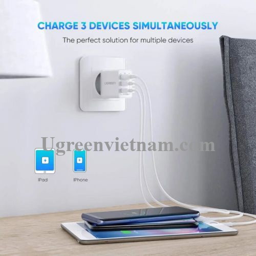 Ugreen 50817 5v 3.1A sạc USB 3 cổng đa năng màu trắng ED013 20050817