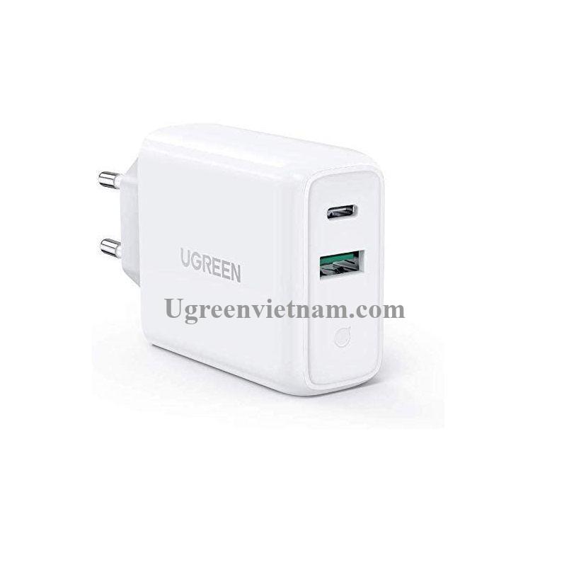 Ugreen 60468 36W sạc USB A và type C màu trắng chuẩn QC3.0 - 4.0 CD170 20060468
