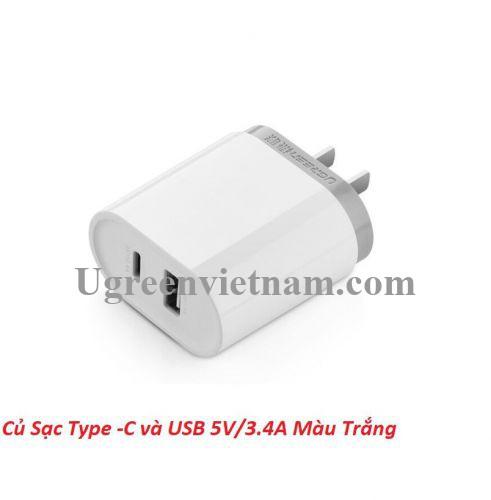 Ugreen 30321 5V 3.4A sạc Usb A và type C màu trắng CD104 20030321