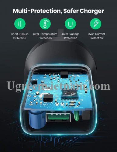 Ugreen 70165 18W Qc3.0 sạc chuẩn cắm UK Plug QC3.0 màu đen CD122 20070165