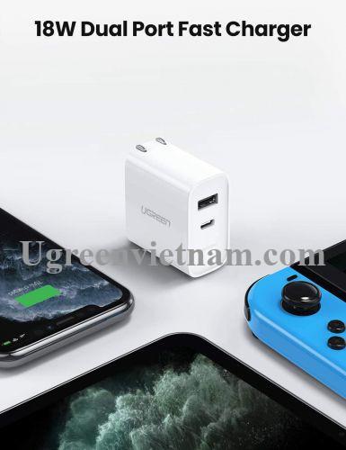 Ugreen 70152 18W sạc USB A và type C chuẩn PD QC3.0 CD212 20070152