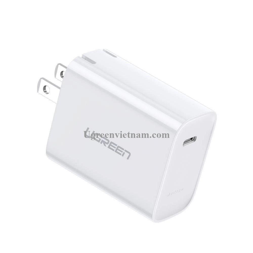 Ugreen 70725 30W bộ sạc siêu nhanh 1 cổng type c PD Power Delivery 3.0 màu trắng CD127 20070725