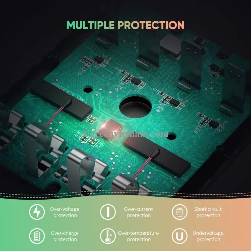 Ugreen 60406 bộ sạc lấy điện từ usb cho pin 2A 3A 4 khe sạc NI-MH Battery 5V 1.5A màu đen có kèm cáp Micro USB CP617 20060406