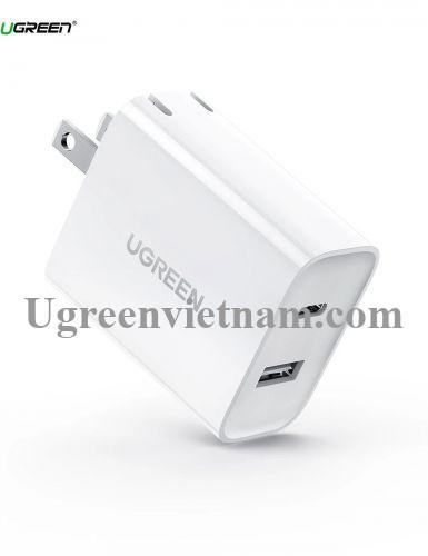 Ugreen 60467 30W bộ sạc 2 cổng sạc USB type C và A màu trắng CD170 20060467