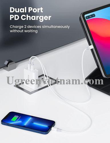Ugreen 70263 36W bộ sạc 2 cổng PD USB type C chân cắm US dẹp xếp được màu trắng CD199 20070263