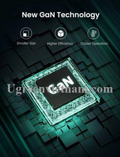 Ugreen 70816 65W sạc 1 cổng USB type C PD 3.0 chân cắm dẹp chuẩn US xếp được công nghệ GaN màu đen CD217 20070816
