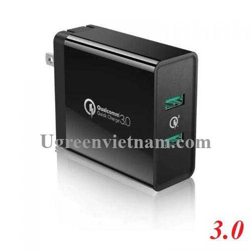 Ugreen 40583 Màu Đen Củ Sạc điện thoại 2 cổng hỗ trợ QC3.0/FCP 40583