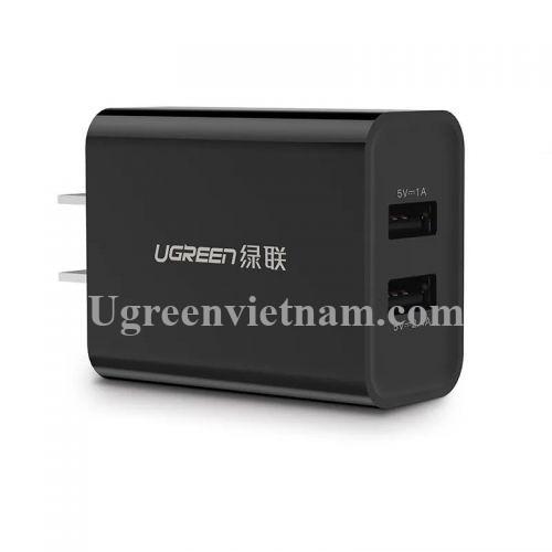 Ugreen 20327 Màu Đen Bộ sạc nhanh 2 cổng USB 5V/2.4A + 1A  CD104