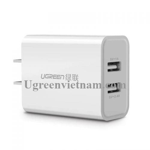 Ugreen 20328 Màu Trắng Bộ sạc nhanh 2 cổng USB 5V/2.4A + 1A  CD104