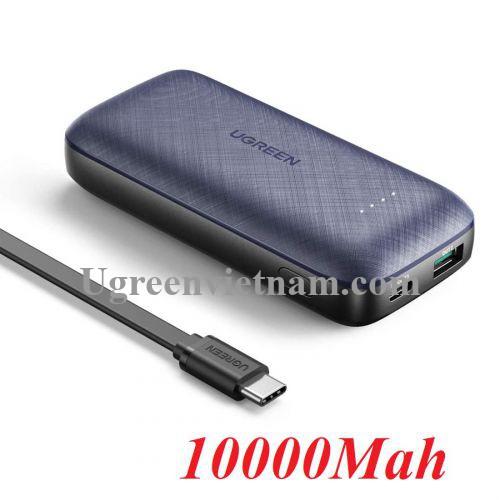 Ugreen 80749 10000mAh cổng usb và type c hỗ trợ QC và PD 3.0 pin sạc dự phòng màu đen PB178 20080749