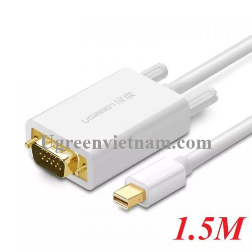 Ugreen 10410 1.5M Màu Trắng Cáp chuyển đổi Mini DP sang VGA hỗ trợ phân giải 1080P MD103