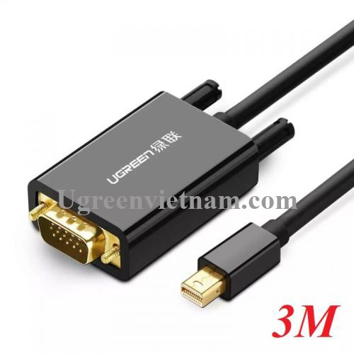Ugreen 20928 3M Màu Đen Cáp chuyển đổi Mini DP sang VGA hỗ trợ phân giải 1080P MD103