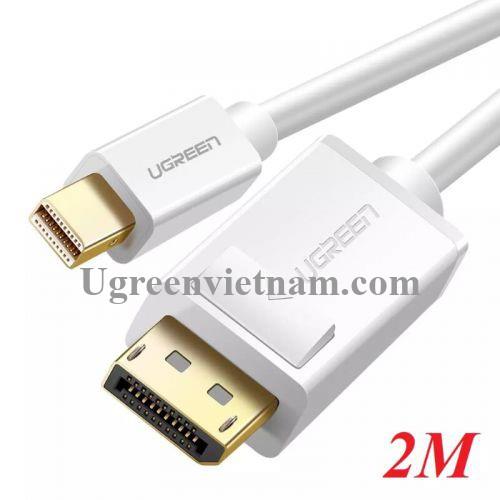 Ugreen 10408 2M Màu Trắng Cáp chuyển đổi Mini DP sang DisplayPort hỗ trợ phân giải 4K x 2K MD105