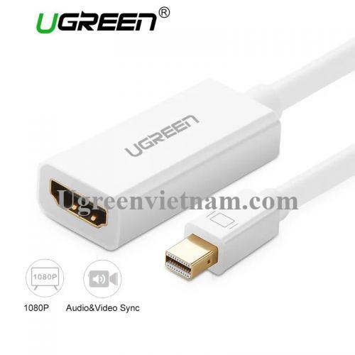 Ugreen 10460 18CM màu Trắng Cáp chuyển đổi Mini DP sang HDMI hỗ trợ phân giải 1920x1080 MD112 20010460