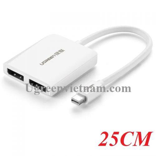 Ugreen 40871 25CM Màu Trắng Cáp Mini Displayport sang 2 cổng Displayport hỗ trợ 4K2K CM119