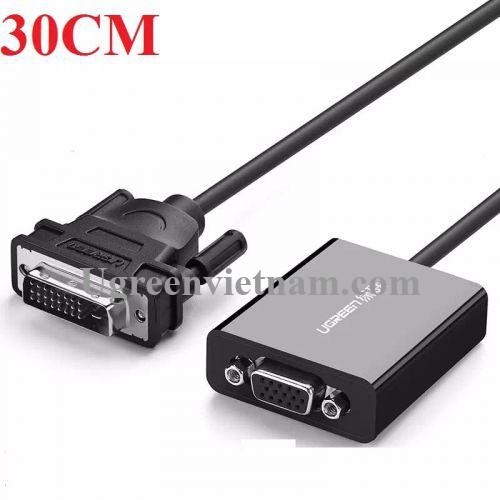 Ugreen 40387 30CM màu Đen Cáp chuyển đổi DVI D 24+1 sang VGA cáp tròn MM108