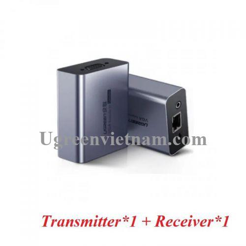 Ugreen 60533 100m bộ nối dài tín hiệu vga dùng cáp mạng cat5e hoặc cat6 có remote màu bạc CM250 20060533