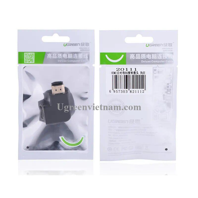 Ugreen 20111 Màu Đen Đầu nối dài HDMI gập sang trái 90 độ HD112 20020111