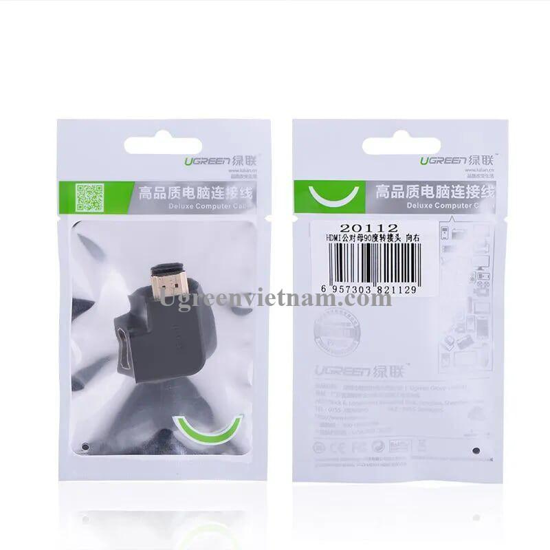 Ugreen 20112 Màu Đen Đầu nối dài HDMI gập sang phải 90 độ 20112 20020112