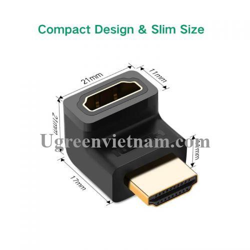 Ugreen 20110 Màu Đen Đầu nối dài HDMI gập 90 độ HD112 20020110
