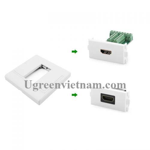 Ugreen 20316 Màu Trắng Khung HDMI âm tường 20316 20020316