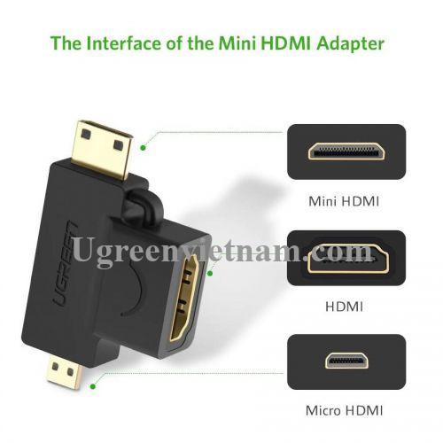 Ugreen 20144 micro HD và mini dương ra HDMI âm đầu chuyển đổi HD129 20020144