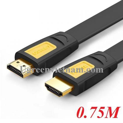 Ugreen 40422 0.75M màu Vàng Cáp tín hiệu HDMI chuẩn 1.4 hỗ trợ phân giải 4K * 2K cáp dẹt HD101