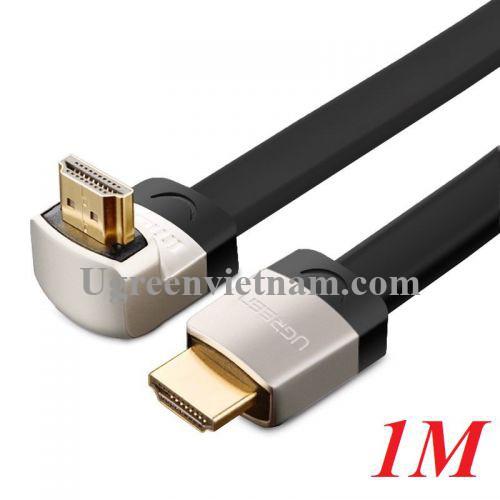 Ugreen 10281 1M dây màu đen đầu  màu xám Cáp tín hiệu HDMI dẹt bẻ gốc 90 độ HD122