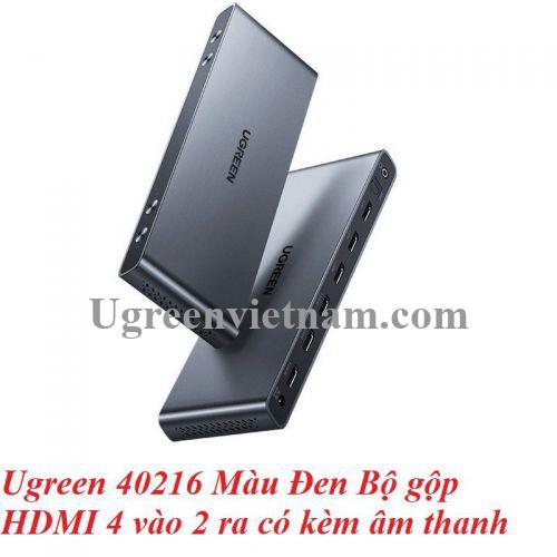 Ugreen 40216 Màu Đen Bộ gộp HDMI 4 vào 2 ra có kèm âm thanh 40216