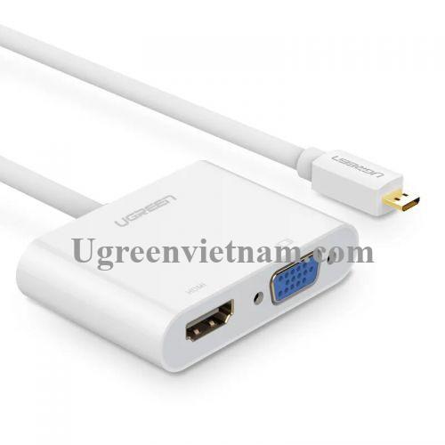 Ugreen 30354 30CM màu Trắng Bộ chuyển Micro HDMI sang HDMI + VGA kèm cổng âm thanh MM115