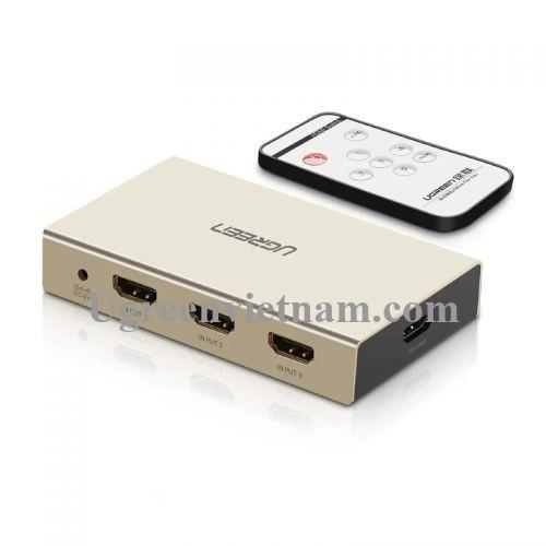 Ugreen 40369 Bộ gộp HDMI 3 vào 1 ra hỗ trợ 4K x 2K vỏ hộp kim cao cấp kèm cổng âm thanh MM128
