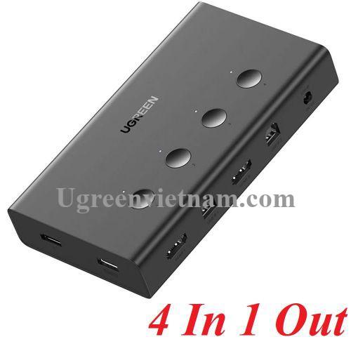 Ugreen 70439 4k 60hz KVM 4 pc dùng 1 màn hình bộ chuyển tín hiệu Switch USB - HDMI CM293 20070439