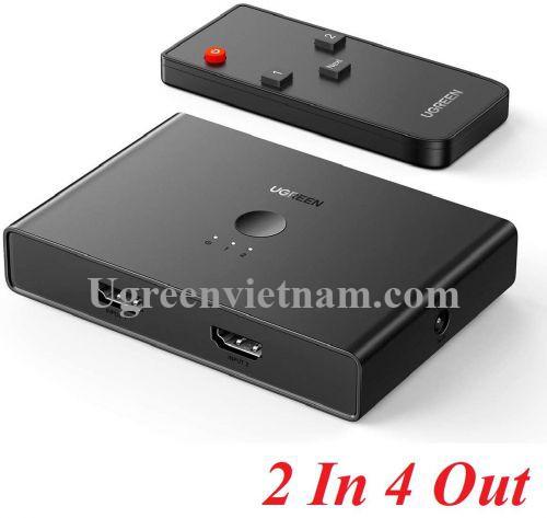Ugreen 70690 4K 60hz 2 vào 4 ra Bộ gộp tín hiệu HDMI 2.0 màu đen CM319 20070690