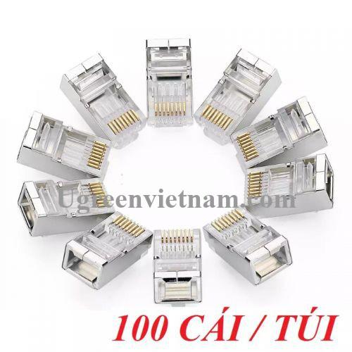 Ugreen 50248 Đầu bấm mạng RJ45 chuẩn Cat6 + Cat6e bọc inox chống nhiễu NW111
