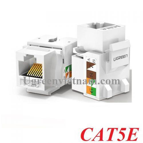Ugreen 80176 Hạt nhấn mạng cat5e màu trắng Jack modulator LAN Ethernet 8P8C RJ45 100 Mbps 568A-B NW142 20080176