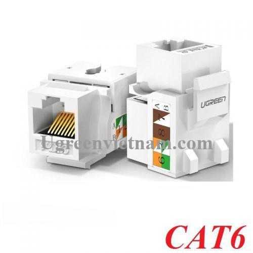 Ugreen 80178 cat6 Hạt nhấn mạng màu trắng Jack modulator gigabit LAN Ethernet 8P8C RJ45 1000 Mbps 568A-B NW143 20080178