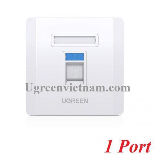 Ugreen 80180 mặt nạ mạng âm tường màu trắng LAN 1 cổng RJ45 hình vuông 86 mm x 86 mm NW144 20080180