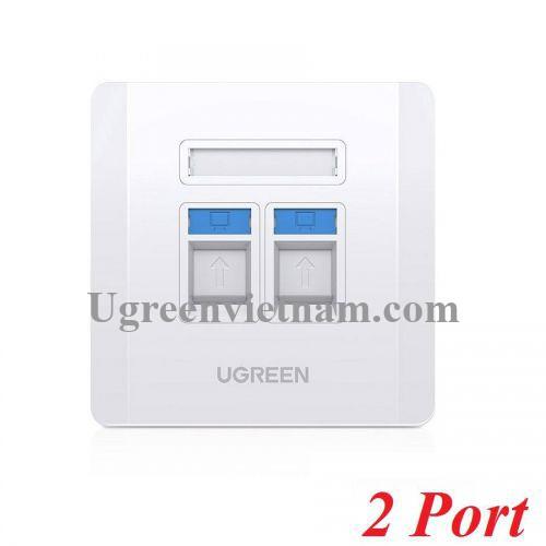 Ugreen 80182 RJ45 - RJ11 mặt nạ mạng âm tường màu trắng LAN 1 cổng RJ45 và 1 cổng RJ11 telephone hình vuông 86 mm x 86 mm NW144 20080182