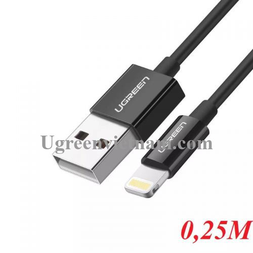 Ugreen 10468 0.25M màu Đen ABS Cáp Lightning sạc + truyền dữ liệu cho iPhone US155 20010468