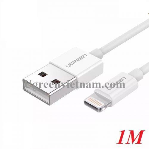 Ugreen 20728 1M màu Trắng ABS Cáp Lightning sạc + truyền dữ liệu cho iPhone US155 20020728