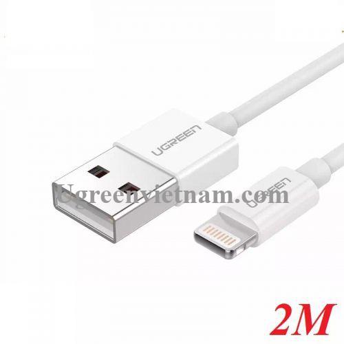 Ugreen 20730 2M màu Trắng ABS Cáp Lightning sạc + truyền dữ liệu cho iPhone US155 20020730