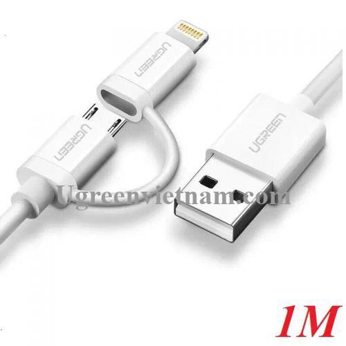 Ugreen 20876 1M màu Trắng Cáp sạc đa năng USB sang MicroUSB + Lightning US178