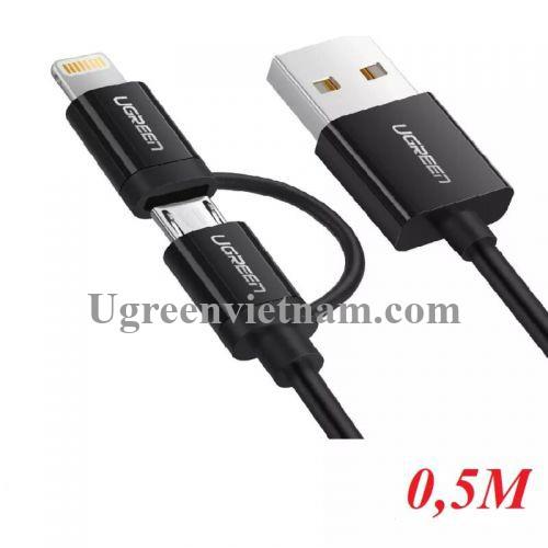 Ugreen 40939 0.5M màu Đen Cáp sạc đa năng USB sang MicroUSB + Lightning US178